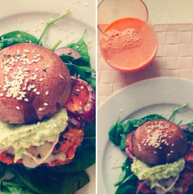 Gulerodsjuice og svampeburgere