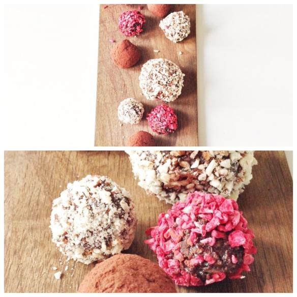 Choko-kugler med nødder, hindbær og kaffe